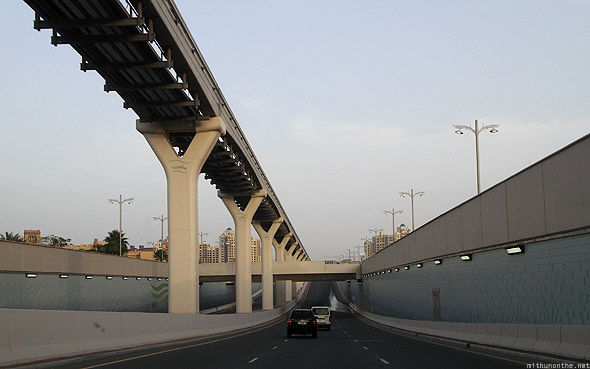 Monorail underpass palm Jumeirah