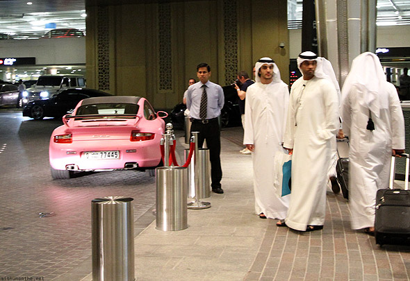 Pink Porsche Dubai mall parking