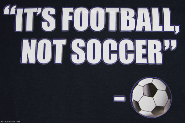Reebok It's Football, Not Soccer t-shirt navy blue close up