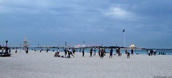 Abu Dhabi corniche beach sand volleyball