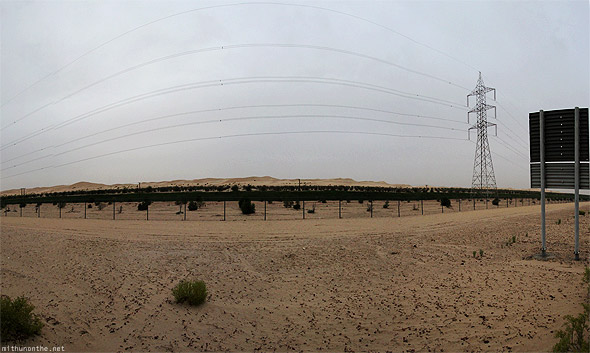 Abu Dhabi desert electricity power line panorama
