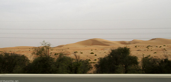 Abu Dhabi desert towards Al Ain from car
