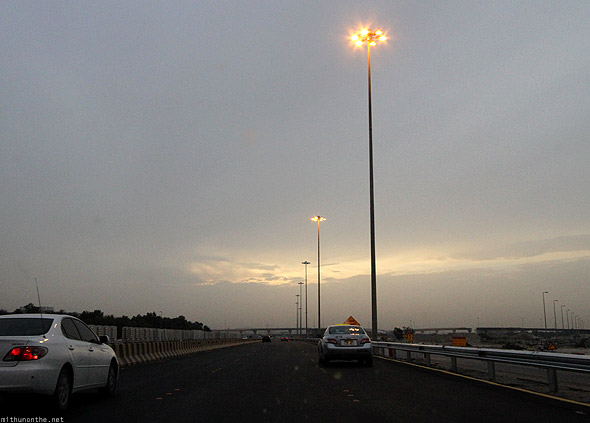 Al Ain to Abu Dhabi highway streetlight