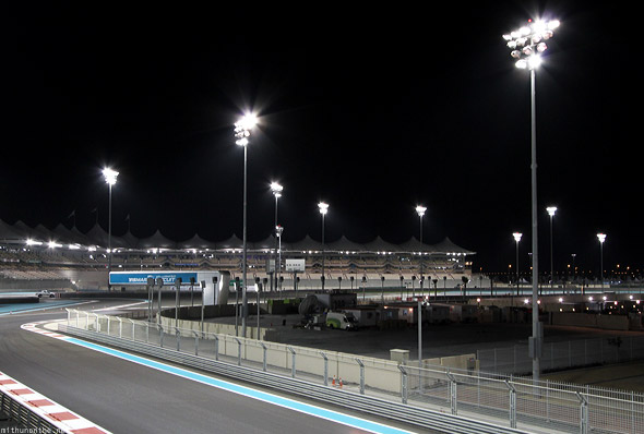 Yas Marina circuits track lights at night