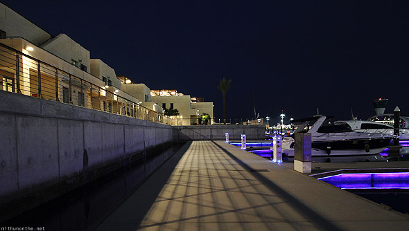 Yas Marina docks at night shadow