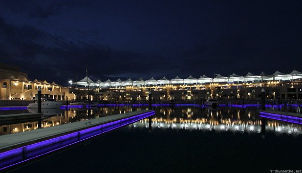 Yas Marina docks at night