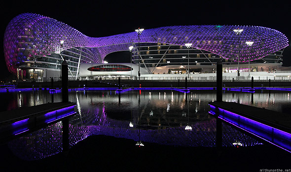 Yas Marina hotel at night lit up