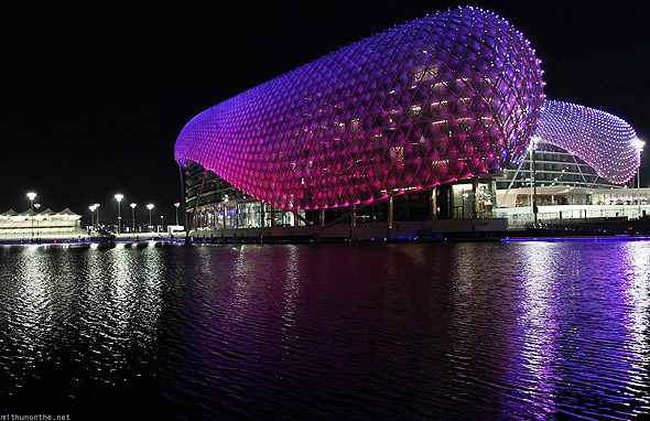 Yas Marina hotel lights reflection night