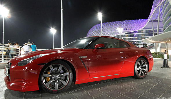Yas Marina red Nissan GTR close up