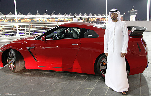 Yas Marina red Nissan GTR owner