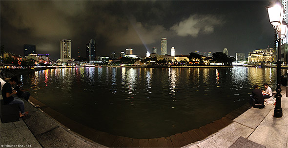 Clarke Quay Singapore river F1 night panorama