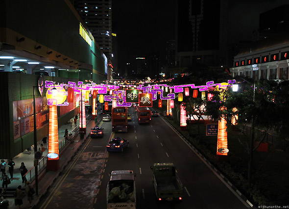 Singapore Chinatown decorations traffic