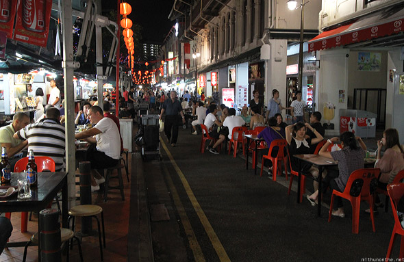 Singapore Chinatown food street chairs