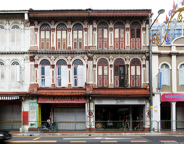 Singapore Little India old brown building