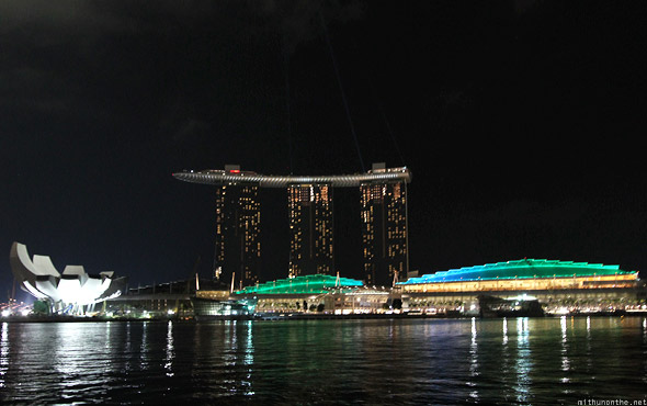 Singapore Marina Bay Sands Casino & hotel at night