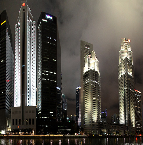 Singapore Marina financial district at night