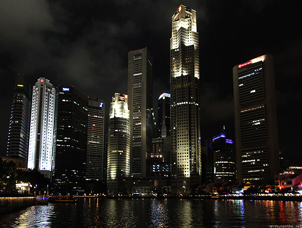 Singapore marina skyscrapers at night