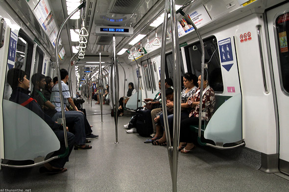 Singapore MRT metro train from airport inside