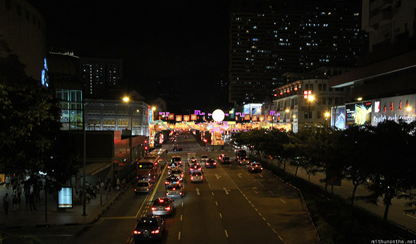 Singapore night road to Chinatown