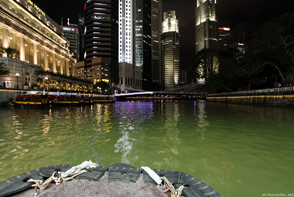 Singapore river boat ride water at night