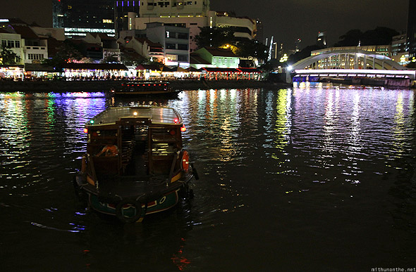Singapore river cruise boat reflections
