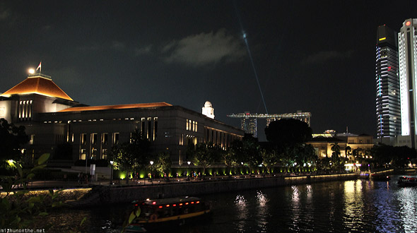 Singapore river night Marina Bay Sands sky