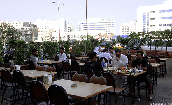 Aroos Damascus tables outside Syrian restaurant Al Rigga Deira Dubai
