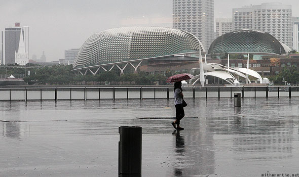 Singapore Esplanade concert halls rainy day from Marina Bay Sands