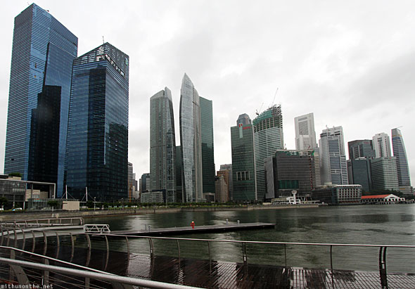Singapore marina bay financial district offices rainy day