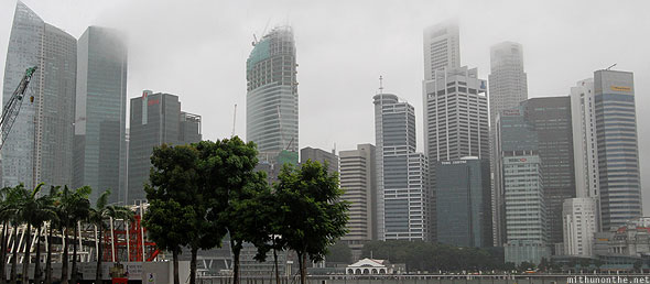 Singapore Marina Bay Sands office buildings rainy day