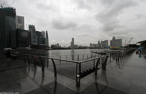 Singapore marina bay rainy day