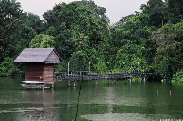 Singapore zoo pond boat house