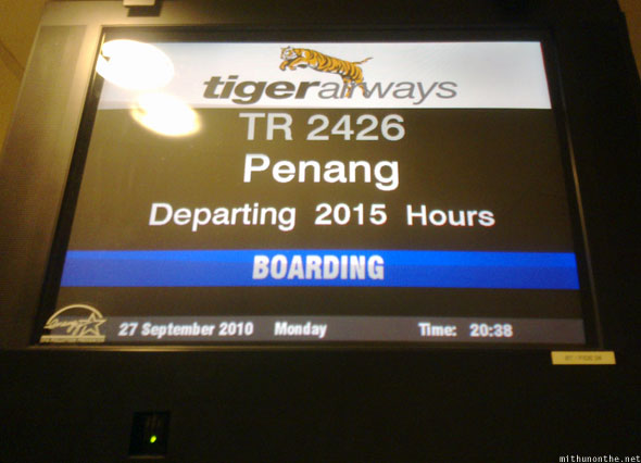 Singapore Tiger Airways Penang flight delay