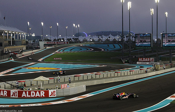 Abu Dhabi F1 Yas Marina circuit evening