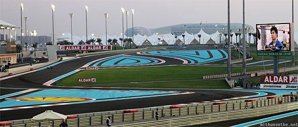 Abu Dhabi F1 Yas Marina circuit north gate panorama