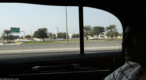 Burj Al Arab from inside car