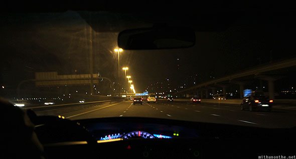 Dubai driving Sheikh Zayed road night