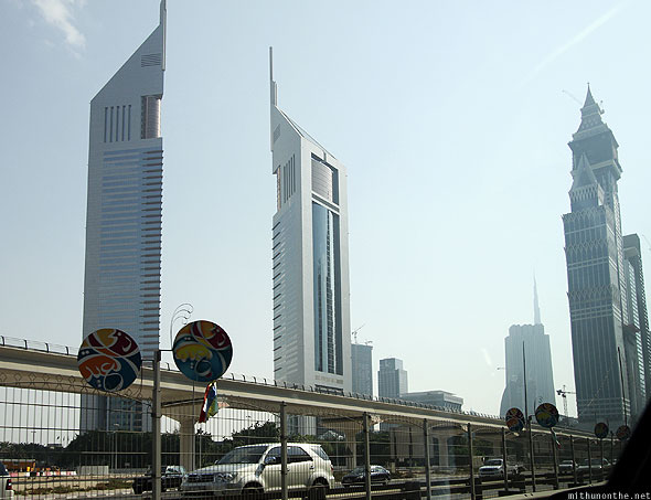 Emirates towers building from car
