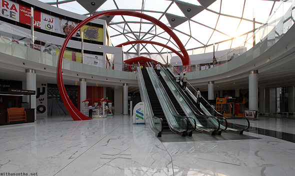 Ferrari World mall escalator stores