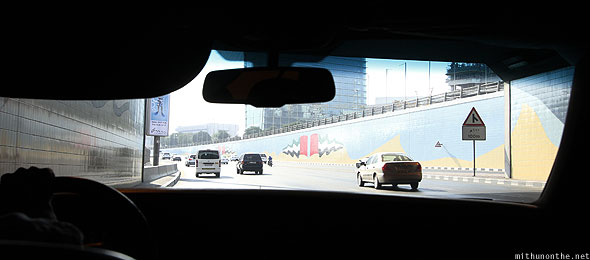 Sheikh Zayed Road tunnel light from inside car