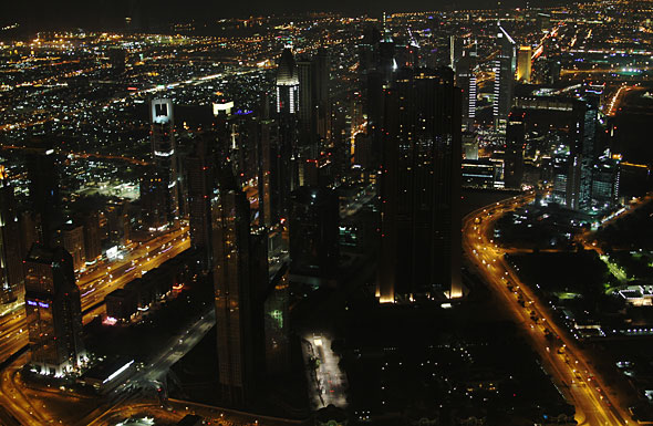 Burj Khalifa At The Top view financial centre at night Dubai
