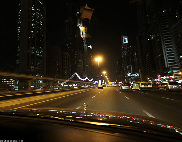 Driving on Sheikh Zayed road at night