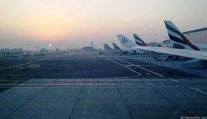 Dubai airport Emirates planes arriving in morning