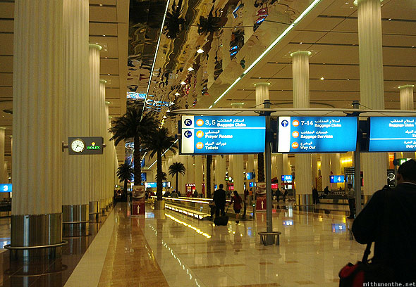 Dubai airport inside arrivals interiors
