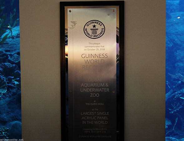 Dubai Aquarium Guinness world record plaque