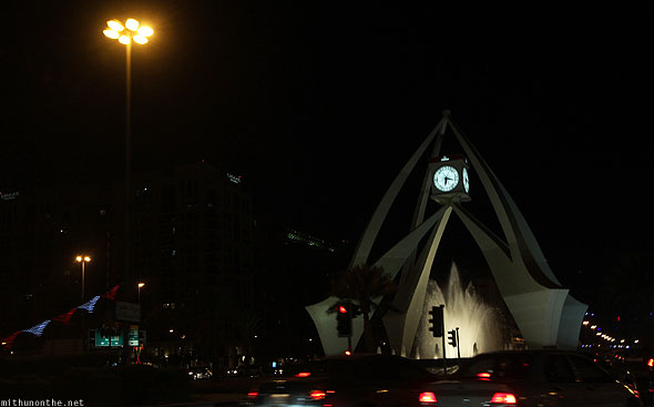Dubai clock tower roundabout at night