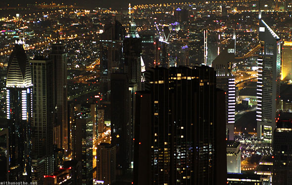 Dubai Financial Centre buildings at night