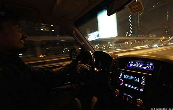Dubai Jassim driving Pajero night