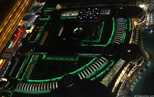 Dubai Mall from top at night