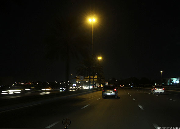 Dubai roads driving night